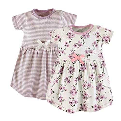 Baby-Mädchen Kleid/Dorical 2Pcs Mädchen Sommer Rundkragen Streifen Drucken Kurzarm T-Shirt Kleid Knielang 0-24 Monate(Rosa+Weiß,6-9 Monate) - 8 Gesichts-serum