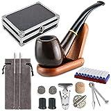Joyoldelf Set de Pipes à Tabac en Bois avec Boîte-cadeau Exquis, avec Accessoire Fumeur, 3-en-1 Racloir en Acier Inoxydable, Cure-pipes, 9mm Filtre, Support en Bois, Nettoyeur de Tuyau