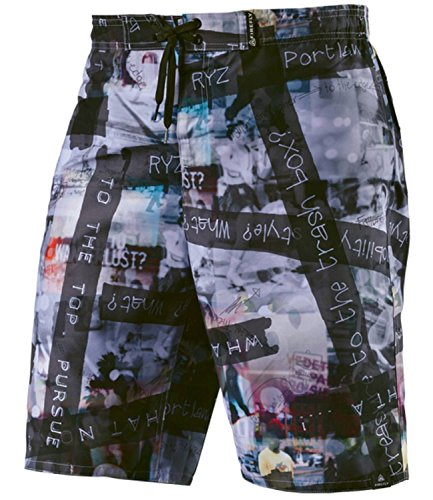 Firefly Herren Bade Short Boardshort Nels weiß multicolor BLACK/ BLACK/ WHITE