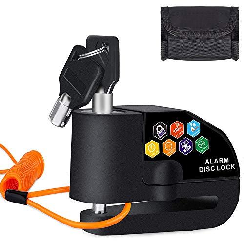 BangShou Candado de Disco con Alarma Dispositivos Antirrobo para Motos 110DB Candados para Bicicletas 7mm Candado Disco para Motos Bicicletas (Candado Disco Negro)