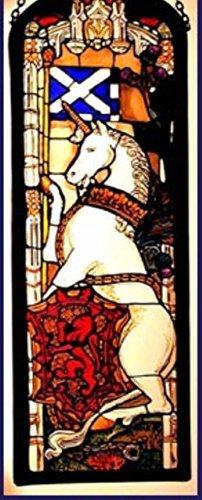 Dekorativer handbemalter Glasfenster Rechteckige Platte in einem Edinburgh Einhorn Design. (Dekorative Fenster-panels)