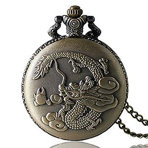 JLyshop Taschenuhr, Retro-Taschenuhr, 3D chinesischer Drachen-Design, für Herren, Quarz-Taschenuhr, Geschenk