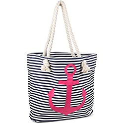 styleBREAKER bolso de playa en óptica de rayas con ancla, bolso de hombro, bolso de tipo «shopper», señora 02012038, Color Azul marino-Blanco/Fucsia