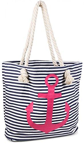 styleBREAKER Strandtasche in Streifen Optik mit Anker, Schultertasche, Shopper, Damen 02012038, Farbe:Marine-Weiß / Pink (Gestreifte Strandtasche)