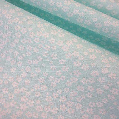 (Stoff Baumwollstoff Baumwolle Blumen Mille Fleur minzgrün mint grün weiß geblümt)