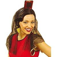 NET TOYS Copricapo ornamentale spagnolo paillettes e velo di pizzo ballerina  flamenco accessori travestimenti e82cc2267779