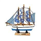 Anyutai 16 cm handgefertigte massivholz Schiff segelboot aus Holz Home Decoration Nautical Geschenk sammelbare Handel für zu Hause - Klassische Marineblau