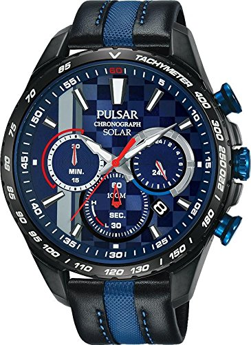 Pulsar Gents M-Sports Limited Edition Watch Solar Chronograph Black & Blue Leather Strap PZ5047
