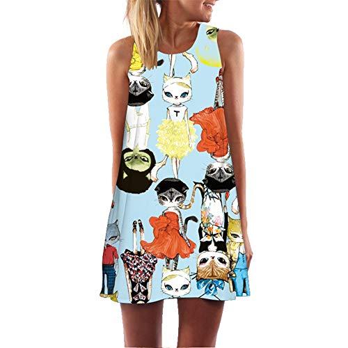 NGMZ Cartoon Moderne Cat Print Mode Kleid Frauen Ärmelloses Oansatz Lose Beiläufige Haus Urlaub Kleid, X-Large (Für Haus-kleider Frauen)