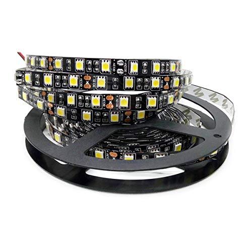 Tesfish 5M Blanc Couleur Noir PCB 5050 LED Bande non étanche IP20 300 SMD DC 12V Bande LED
