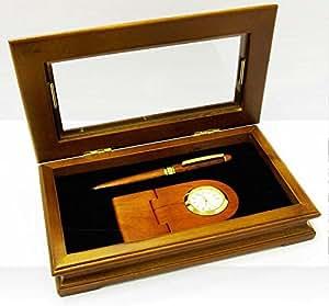 Horloge de bureau personnalisable en bois et stylos-Gravure profonde et soignée offerte.