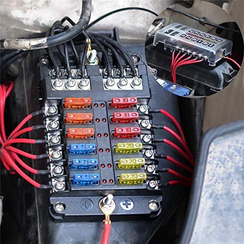 AITOCO 12Way Klinge Sicherungskasten, Unabhängige positiven und Negativen Standard Sicherung Block Halterung mit LED Warnung Licht Anzeige für Car SUV Bus Boot Yacht (Kabinett Edelstahl-werkzeug-box)