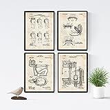 Nacnic Vintage - Lot de 4 Feuilles Brevet Toilettes. Définir des Affiches des Inventions des Anciens Brevets. Choisissez la Couleur Que Vous Aimez. Imprimé sur de Haute qualité de 250 grammes