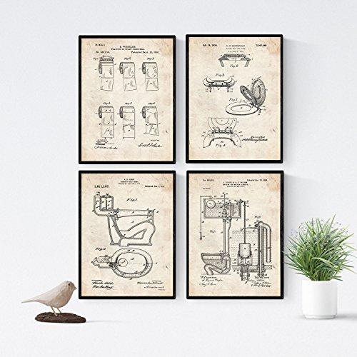 Nacnic Vintage - Pack 4 Láminas Patentes Vater. Set