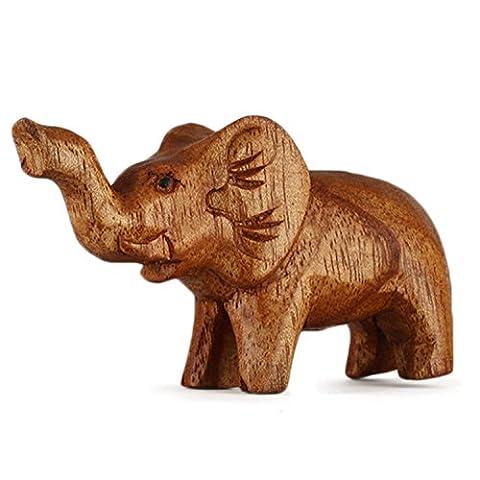 Holz-Elefant Schnitzerei aus Suar Holz HTEL010