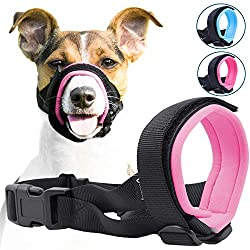 Gentle Muzzle Guard for Dogs - Prevents Biting and Unwanted Chewing Safely Secure Comfort Fit - Soft Neoprene Padding - No More Chafing -Included Training Guide Helps Build Bonds with Pet (M, Pink)