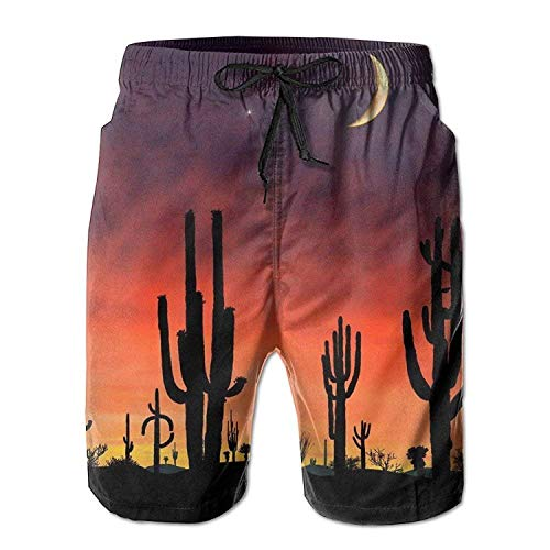 Men's Cactus Sunset Quick-Drying Summer Boardshort Swimm Surf Trunk Short Beach Pant -