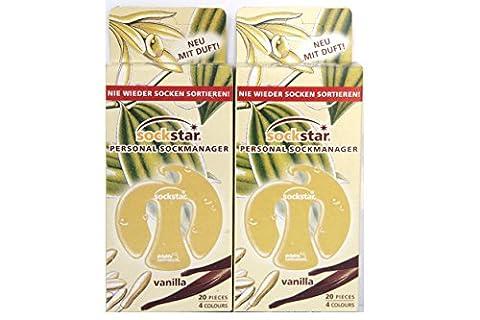 Super Offre. 40Sock Star–Pinces–Chaussettes Clips. Prix pour 2famille paquets, 40Clips, 4couleurs. Vanille parfumée Version