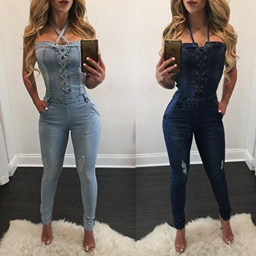 Donna Rompers Senza Maniche Sexy Skinny Bodysuits Vita Alta Pantaloni Monopezzi e Tutine Playsuit Pantaloni Azzurro