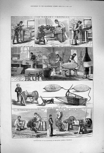 Arsenal Woolwich de 1877 de Fabrication Matériaux de Guerre [Cuisine et Maison] par original old antique victorian print