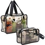 Sunwuun 2Pcs Bolsa de Aseo de Viaje Bolsa de Maquillaje Transparente para Mujer Hombre Niños Ducha Impermeable Lavado Vuelos Bolsas Organizador con Cremalleras Bolsa de Viaje (Grey)