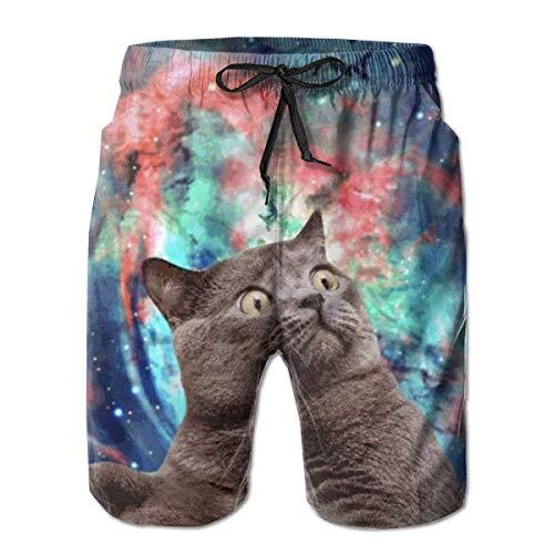 Bensontop Mens Aquarell Raum Katze 3D Badehose Quick Dry Sommer Unterwäsche Surf Strand Shorts elastische Taille mit Tasche Kordelzug M (Kleinkind-unterwäsche-raum)