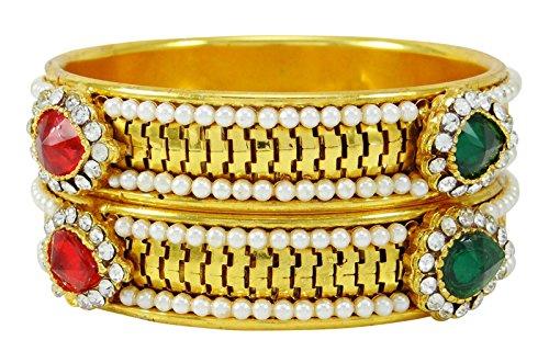 Banithani tono oro tradizionale indiana 2pcs kada braccialetto braccialetto gioielli regalo per i suoi 2* 4, fede, colore: verde, cod. kj2194b