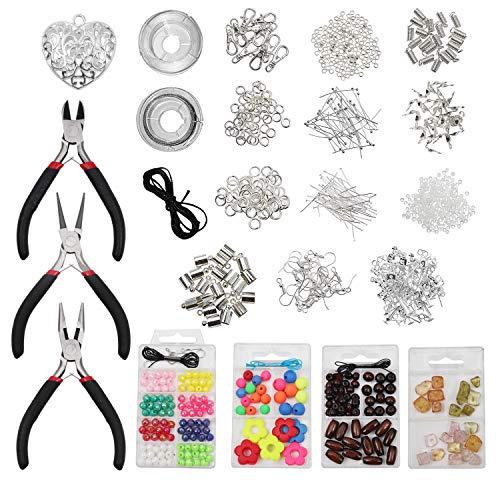 Creazione di gioielli kit (800 pezzi) - argento placcato, principiante di gioielli impostato con pinze, pendente a cuore, 4 custodie di perline, cavo di cera, elastico e filo - per bambini e adulti