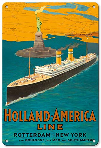 Aluminum Sign, Metal Sign, Vintage Tin Sign - Rotterdam to New York City - Holland-America Line - Statue of Liberty Retro Sign ()