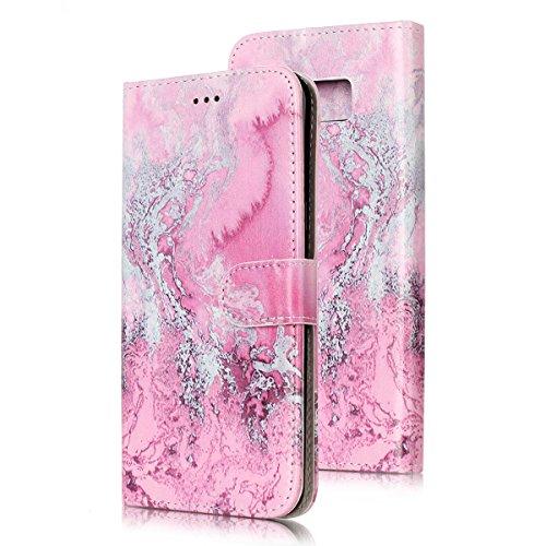 Samsung Galaxy S8 Custoida in Pelle Portafoglio,Samsung Galaxy S8 Cover Pu Wallet,KunyFond Lusso Moda Marmo Dipinto Leather Flip Protective Cover con Bella Modello Cover Custodia per Samsung Galaxy S8 Acqua di mare rosa