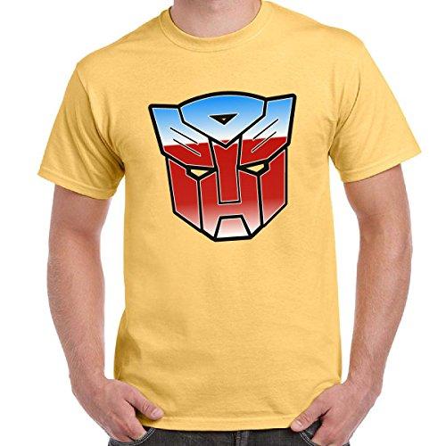 CHEMAGLIETTE! - Maglietta Cartoni Animati Anni '80 T-Shirt Uomo Transformers Autobot, Colore: Giallo Chiaro, Taglia: M