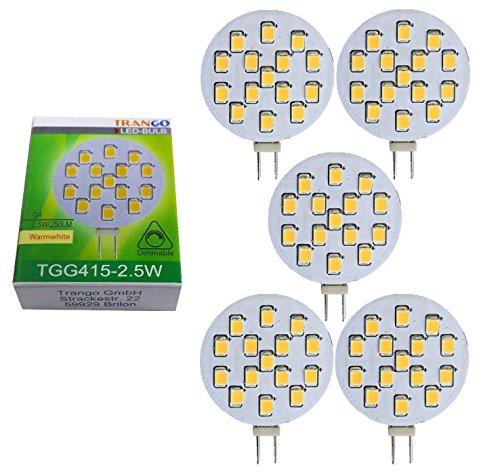 Trango 5 pack Ampoules LED avec culot G4 12V AC/DC pour le remplacement des ampoules halogènes G4, MR16, GU5.3 TGG415-2.5W - 2,5 Watt 250 lumens - Lampes à culot de lampe blanc chaud 3000K