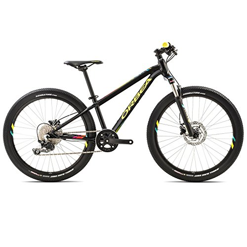 Orbea MX 24 Trail Zoll MTB Kinder Fahrrad 10 Gang Rad Aluminium Jugend Kids Mountain Bike Shimano, I021, Farbe schwarz / gelb
