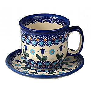 Classic Boleslawiec Pottery Hand Painted Ceramic Tea/Coffe Cup & Saucer 0.3L Large 034-U-006