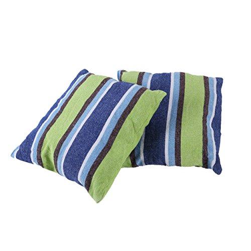 Inspired Home Living Lot de 2 Coussins 45 x 45 Taie d'oreiller - Bleu et Vert à Rayures - Best utilisé pour hamacs, hamac Chaises, terrasse balançoires - Intérieur et extérieur (18 x Auditeur)