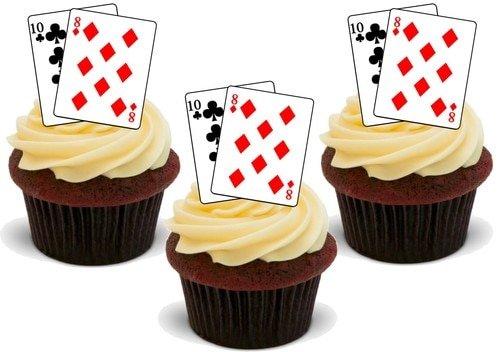 Spielkarten 18. Geburtstag - 12 essbare hochwertige stehende Waffeln Karte Kuchen Toppers Dekorationen, Playing Cards 18th Birthday- 12 Edible Stand Up Premium Wafer Card Cake Toppers Decorations