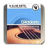 D\'Addario DA-AZ04 Pack de 4 jeux de cordes pour Guitare acoustique EJ16 + Accordeur à pince NS Micro