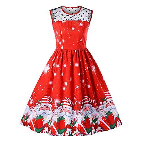 ODJOY-FAN Weihnachtsmann Gedruckt Kleid, Frau Ärmellos Groß Pendelrock Casual Patchwork Minikleid...
