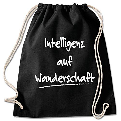 Shirt & Stuff / Turnbeutel mit Spruch/Bedruckte Sportbeutel - Sprüche auswählbar/Baumwolle schwarz/Intelligenz auf Wanderschaft