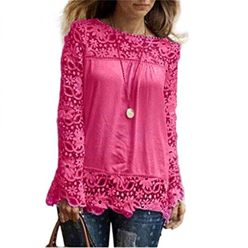 Vovotrade Mode Femme Manches Longues Chemise Occasionnels Dentelle Blouse Loose T-shirt de Taille Variable Rouge chaud