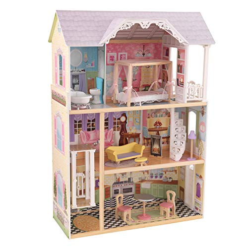 KidKraft 65869 Kaylee Wooden Dolls House with furniture and accessories included, 3 storey play set for 30 cm / 12 inch dolls