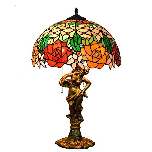 Tiffany-Stil tischlampe LED Rund Rot Rosa stehlampen Vintage Mediterran Glas Transluzent Lampenschirm Metall Zinklegierung Buchse Schlafzimmer Wohnzimmer Restaurant Flur Bar/E27*3/16 Zoll/40W