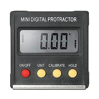Fesjoy Multifuncional Mini Pantalla Digital Transportador Inclinómetro Medidor de nivel Resolución de 0,1 Grados y rango Inferior de 4 * 90 Grados con imán