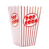 Bekith 100 Stück Popcorn Tüte,Papiertüten Partytüte Rot-Weiß Gestreift Größe:16 x 10 x 7cm