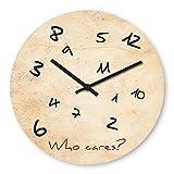 Lustige Wanduhr mit Motiv - Who cares - aus Echt-Glas | runde Küchen-Uhr | große Uhr modern