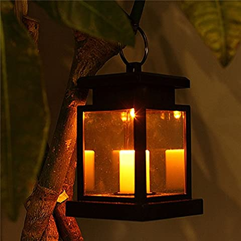TP-top Waterproof Flickering Flameless Solar LED Candle Light Hanging Lantern Smokeless for Outdoor Garden Yard Lawn Patio Camping Tent