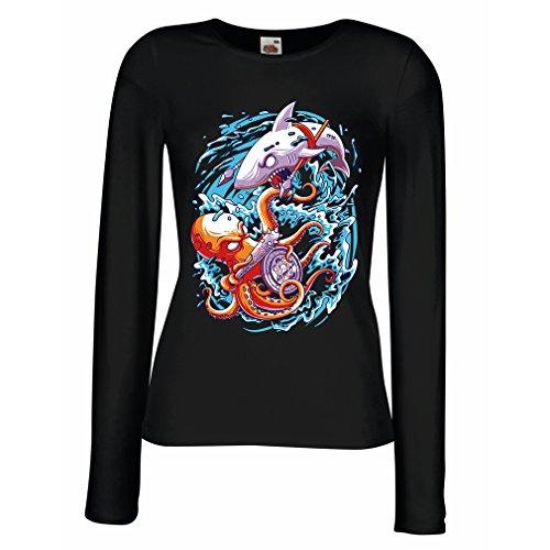 Weibliche Langen Ärmeln T-Shirt um Die Meere zu beherrschen, Schlacht IM Ozean, Octopus Vs. Shark, Marine-Outfits (Medium Schwarz - Last-minute-halloween-outfits Einfache