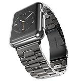 MroTech Metallarmband kompatibel für 44mm 42mm Apple Watch Armband Edelstahl Uhrenarmband Ersatz für Apple Watch Serie 4/3 / 2/1, iWatch Sport Edition Nike+ (42 mm / 44 mm, Schwarz)