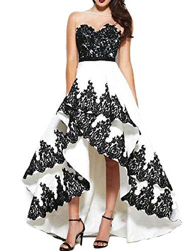 Carnivalprom Damen Abendkleider Mit Applikation Braujungfernkleider Asymmetrisch Partykleid Whiteblack