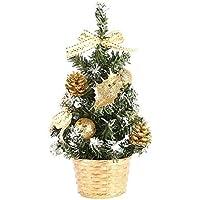 LPxdywlk Mini árbol De Navidad Artificial Flor Arco Bola De Navidad Decoración Hotel Café Mesa Decoración De Vacaciones 20 Cm Dorado